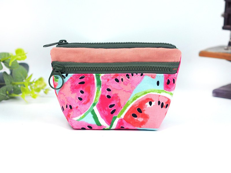 Handmade cloth bag pocket purse double zipper small storage package green [love watermelon] [BG-03]