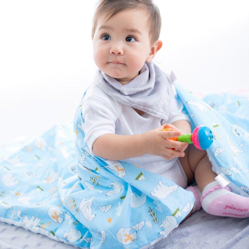 Minky加厚夾層棉毯枕套裝 點點顆粒 攜帶毯嬰兒毯 藍色-北極熊