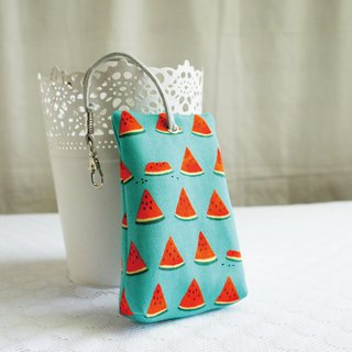 Lovely [Japanese cloth] watermelon slice three-dimensional tea bag zipper key bag, ID card available, green