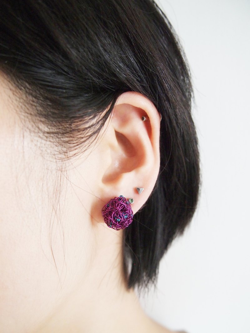 Japanese round wonderful people hand woven simple purple copper with blue translucent beads earrings