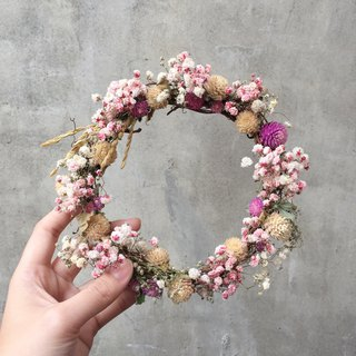 Department of pink starry dry wreath