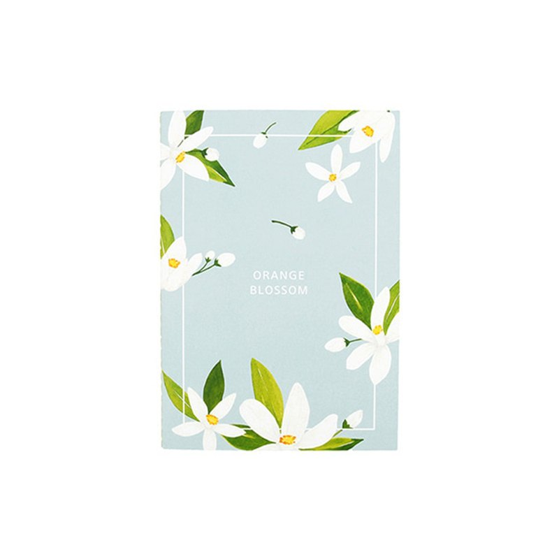 Flower bloom horizontal line notebook M size 03. Orange flower
