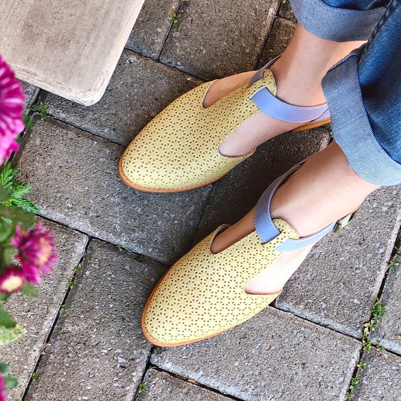 Outer tip inner round T-shaped oxford shoes / yellow / women's shoes / handmade / S2-19328L