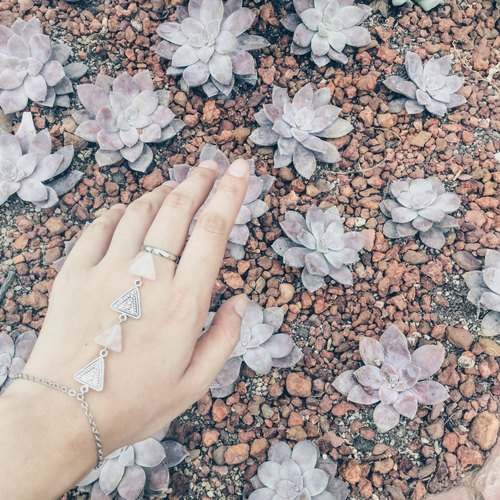 Rose Quartz & Triangle Bracelet-Ring