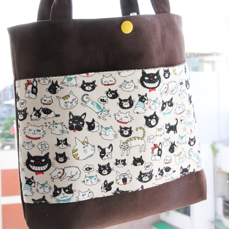 Wen Qingfeng Xiuqi practical handbag love laughing cat hand shake cup travel bag lunch accompanying package