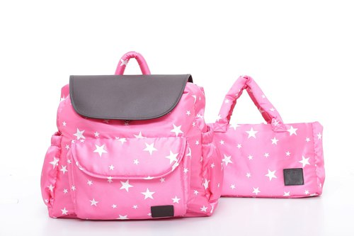 ELSKA leather back carrying double bag - Star Rose powder