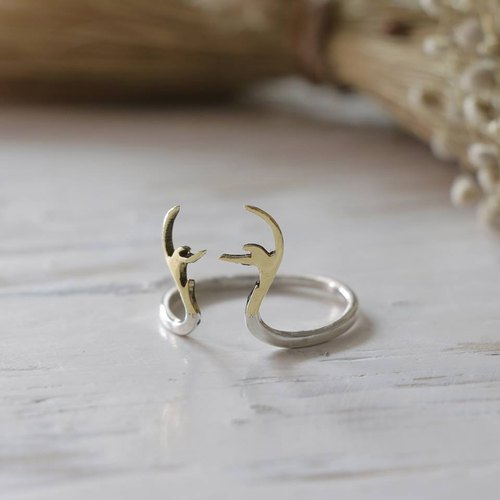 antler horn deer ring crown handmade lady women Girl silver minimalist stacking