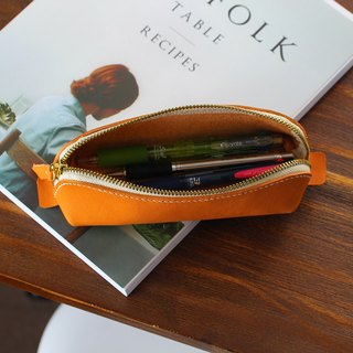 【Keichuan hand-made】 hand-sewn leather zipper pencil / Italian plant tanned leather