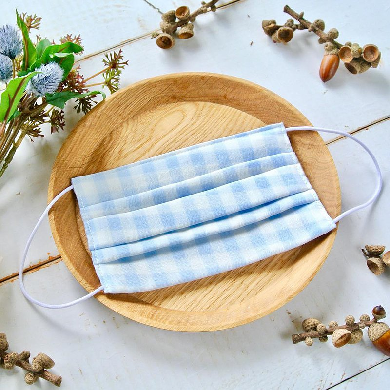 Cute pattern | handmade mask Pastel Gingham Blue | Comfortable double gauze