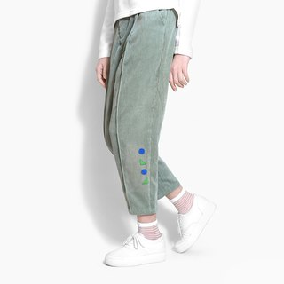 [Exclusive] limited color dot swollen face filled fat wide corduroy pants - fog green