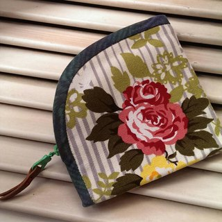 Hand pull zipper bag ~ stripe flowers