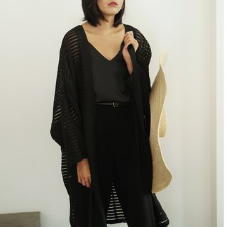 Remains independent of the world | black texture pattern long cardigan spring and summer dark stripes sunscreen loose Oversize smock