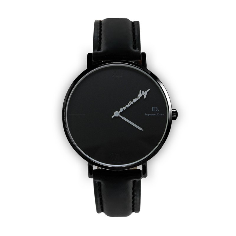 Customized Pointer Watch - 36mm Roman Black Leather