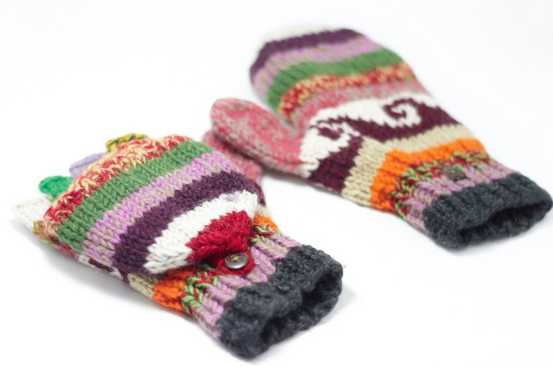 Valentine's Day limited edition hand-knitted pure wool warm gloves / 2ways Gloves / Toe gloves / bristles gloves / knitted gloves - Eastern Europe national totem stitching color