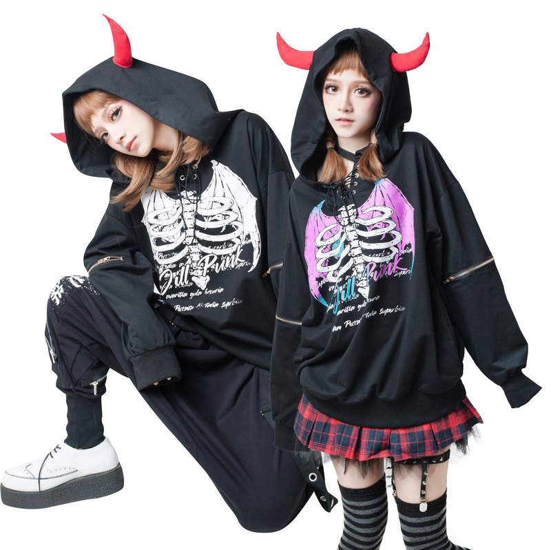 Harajuku punk Heart-broken hell boy strappy V-neck devil horn hoodie【JJ2220】
