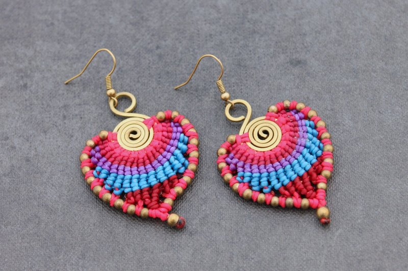 Macrame Earrings Pink Beaded Woven Spiral Rainbow Brass Dangle Drop