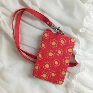 Small red flower - ID card / card holder