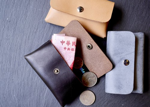Multifunctional leather hand-sewn wallet purse business card holder