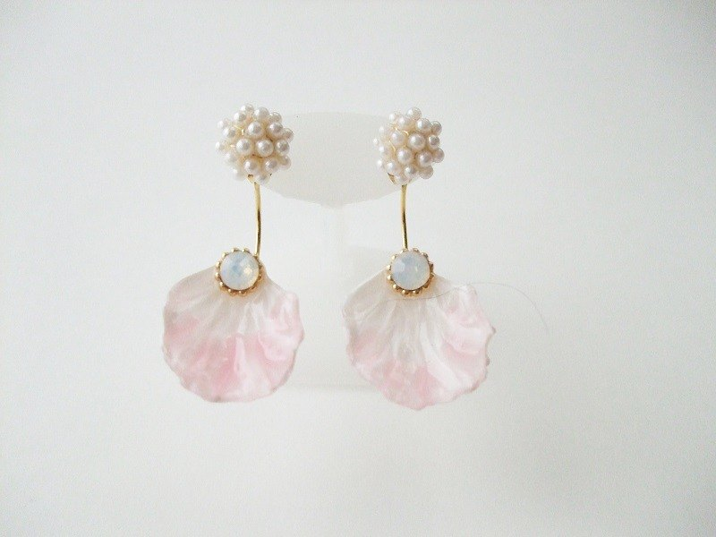 2way Flower Swarovski Earrings Sweet Pink