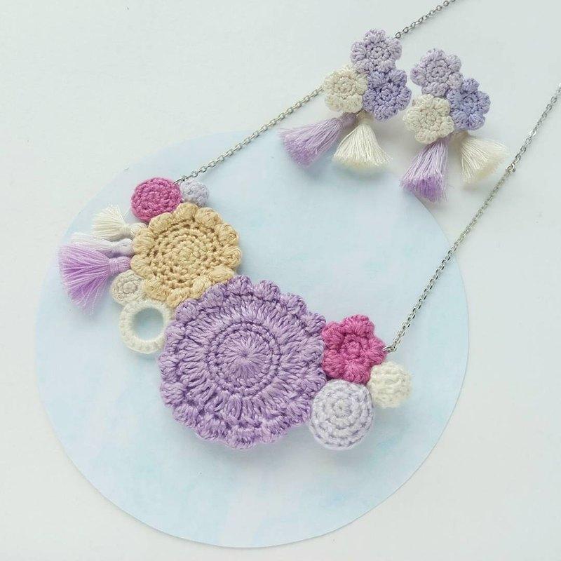 Pastel Purple Crochet Floral Necklace (not including earrings)