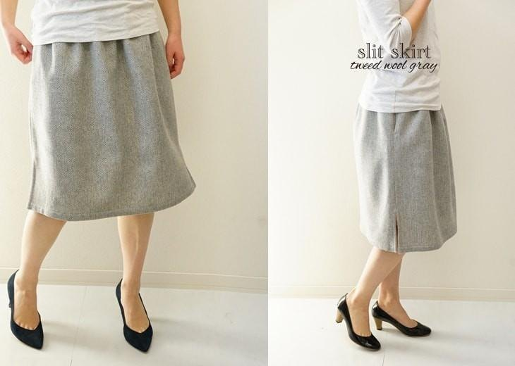 Tweed wool (wool) waist skirt belt loop lining skirt with slit pockets / gray series sk4-9