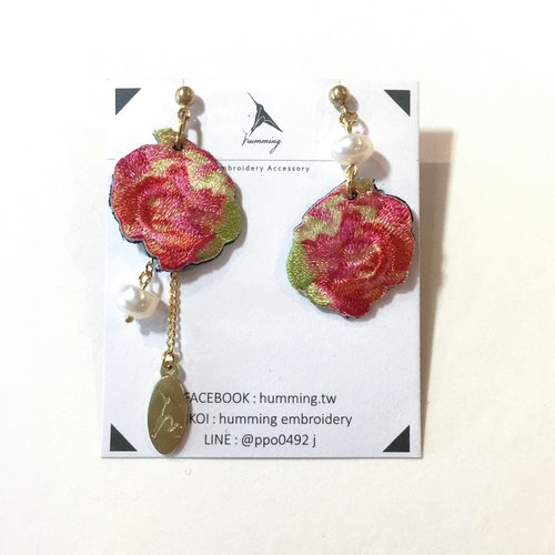 Humming-Embroidery earrings Roses <Embroidered Earrings> Stainless Steel Ear Needles / Adjustable Clamp / Aqua Series /