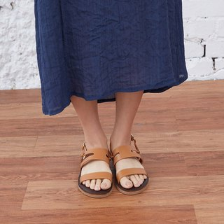 [HI Good Morning] full leather two wear sandals and slippers _ Cocoa camel