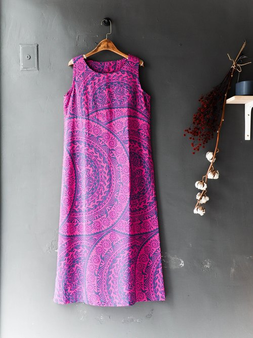 River Hill - Tokyo peach purple full version of Totem girls antique log-piece silk dress overalls oversize vintage dress