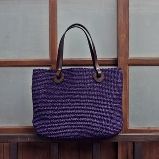 Handmade - Japanese Handbag - Purple - Plant Leather Leather Handle - Travel / Light Travel / Birthday Gift
