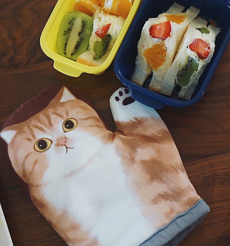 MEWJI妙吉原創可愛貓咪爪微波爐烤箱烘焙隔熱手套 棕底狸花貓款