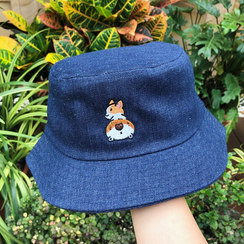 Goki embroidery fisherman hat denim