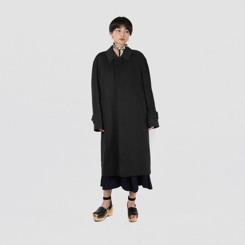 [Egg Plant Vintage] Kashmir Blend Pure Black Long Vintage Coat