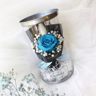 Journee dream blue immortal rose flower jar with card blue rose dry flowers