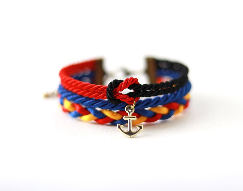 Nautical wrap bracelet in with anchor in red / black / admiral blue / yellow