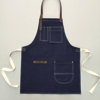 New Denim Apron no.04 Copper rivets one pockets Neck Leather / garden / barista / Handmade.