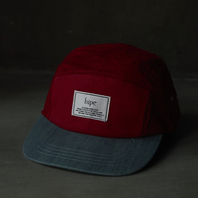limited edition red with printed black and denim cap