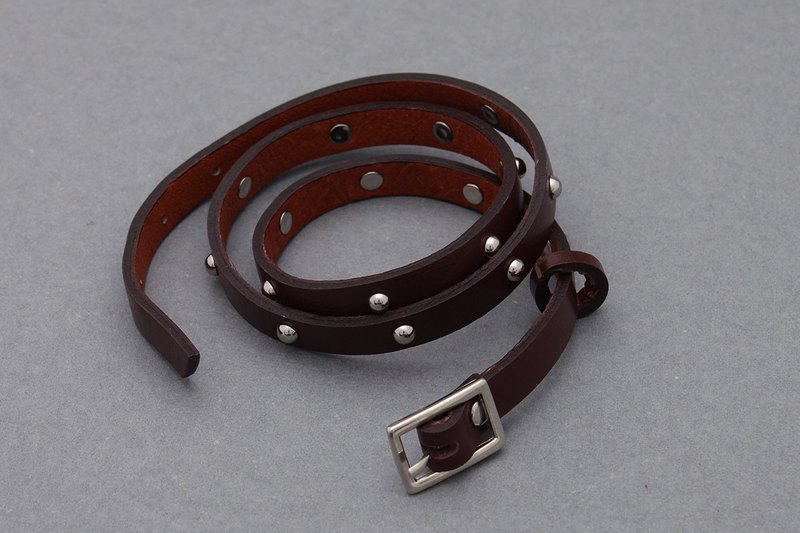 Leather Wrap Stud Bracelets Choclate Brown Unisex Wrap Beads Cuff Bracelets