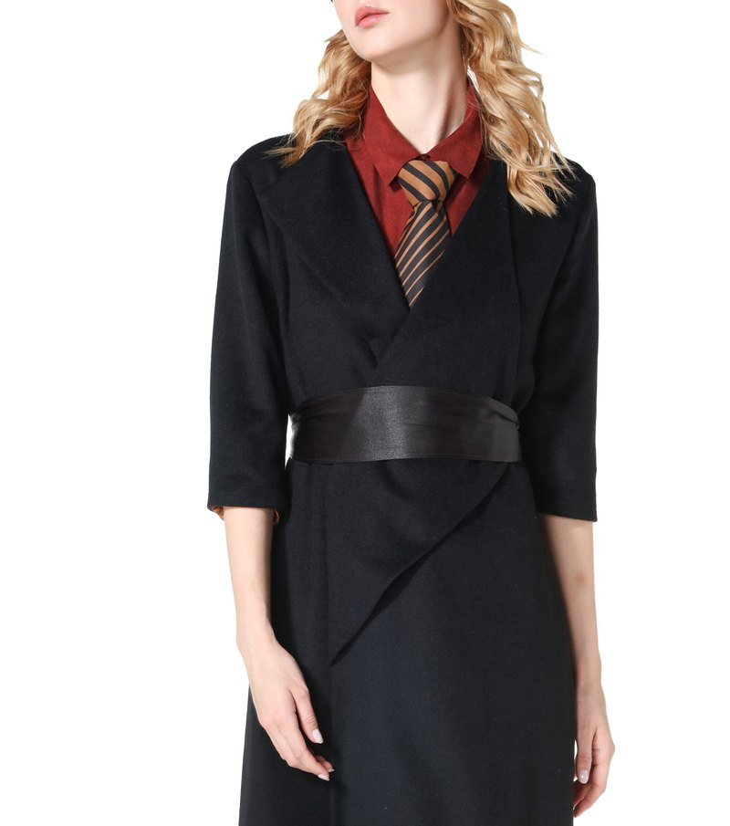 Bright black single-faced cashmere coat with 1 cashmere belt and 1 silk belt