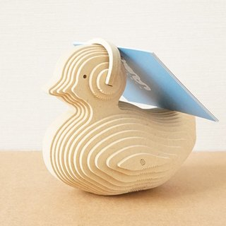 Wooden duckling card holder