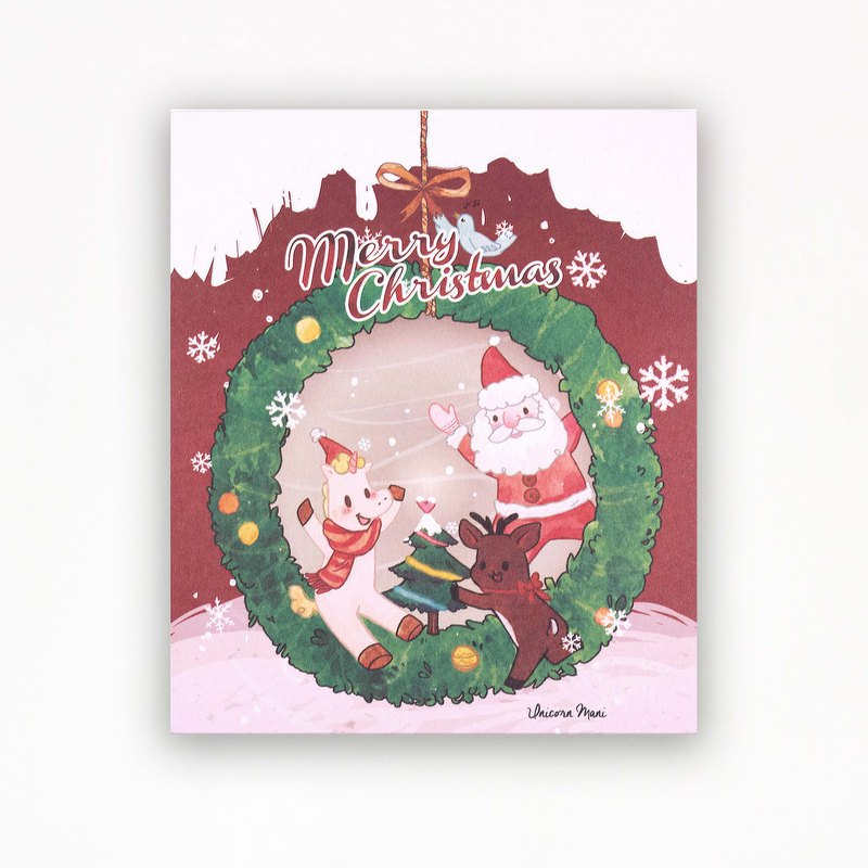 Mani spends Christmas with you | Unicorn Mani original illustration postcard