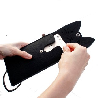 Open a cat - cat mobile phone package Portable package / neck strap - Black Cat black cat