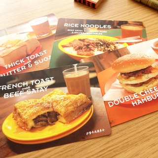 Hong Kong tea restaurant Food postcard set (4 in)