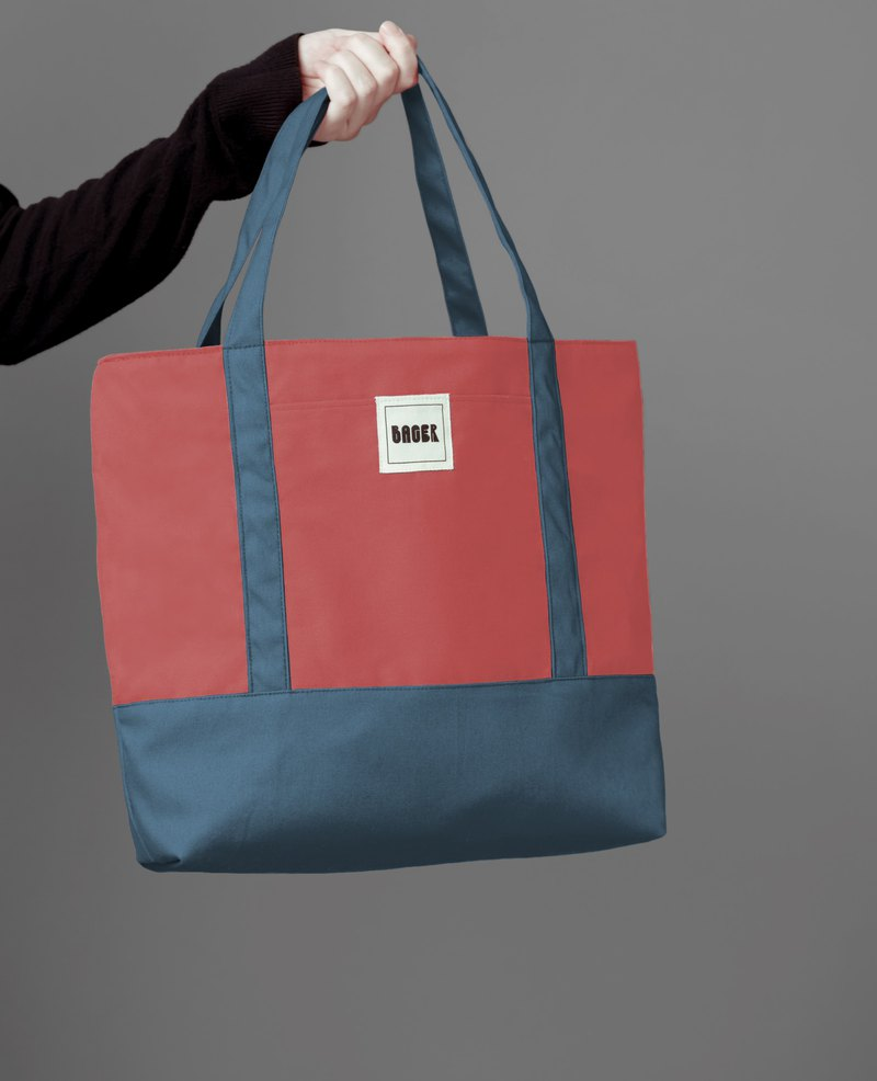 Classic color matching tote bag coral powder + Morandi blue