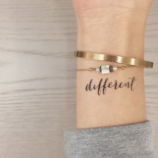 "cottontatt ""different"" calligraphy temporary tattoo sticker"