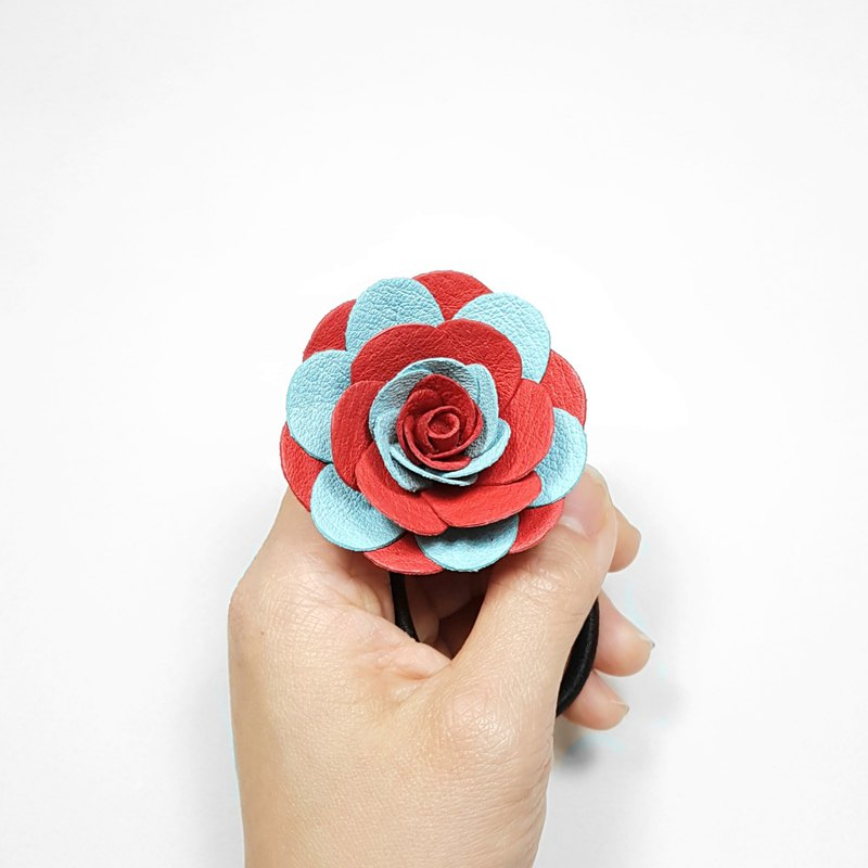 Leather flower hair tie_L size_red&light blue