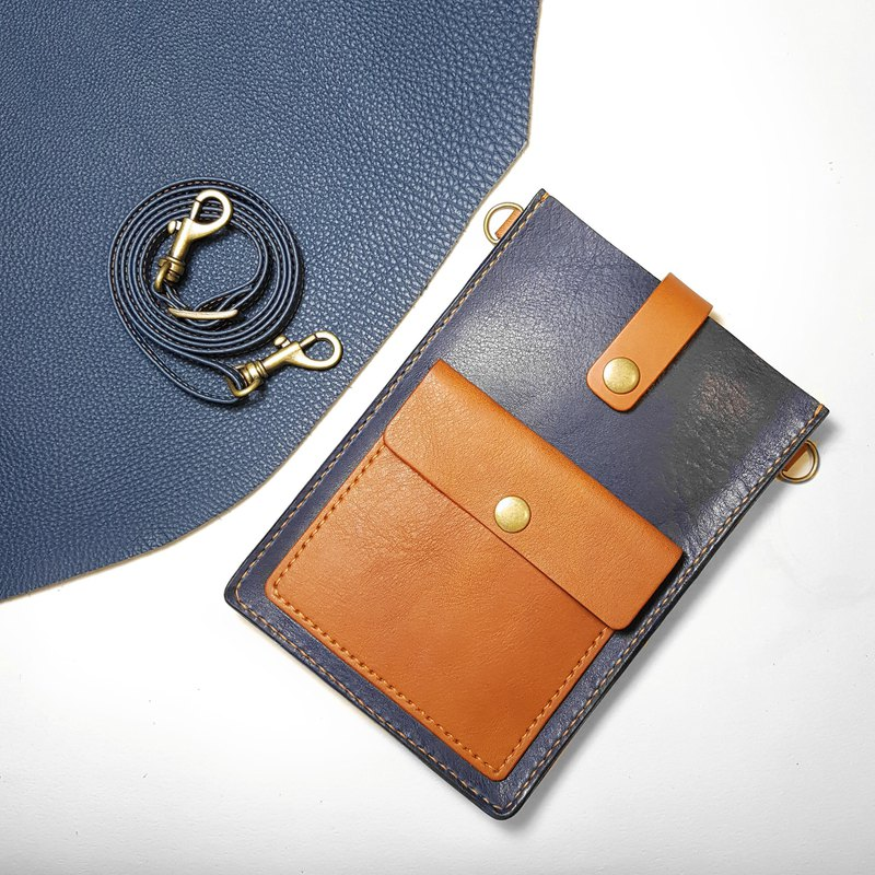 Natural cow leather _ lightweight shoulder bag / mobile phone bag sling bag_ dark blue series