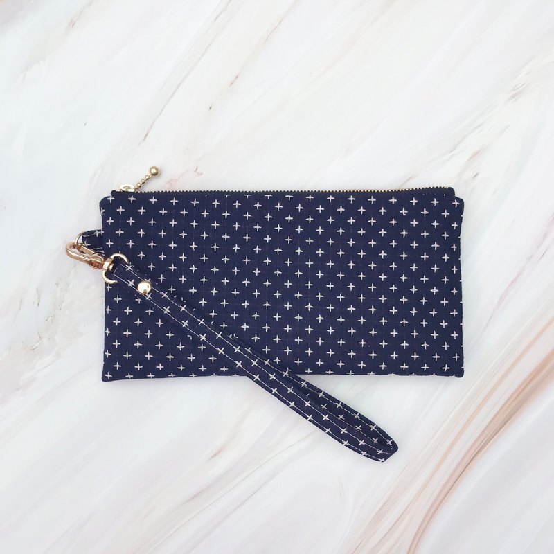 Dark blue first dyed cloth cotton carry bag mobile phone clutch bag
