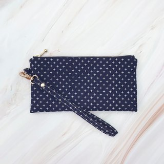 Dark blue first dyed cloth cotton carry bag mobile phone bag clutch bag