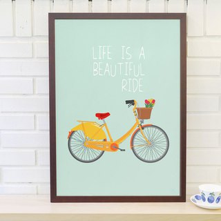 Scandinavian retro minimalist poster Life is a beautiful ride x1 original without frame