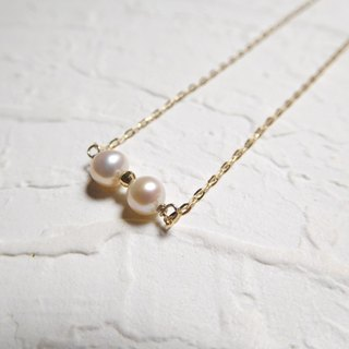 Japanese pure 10K gold chain round pearl K gold ball clavicle